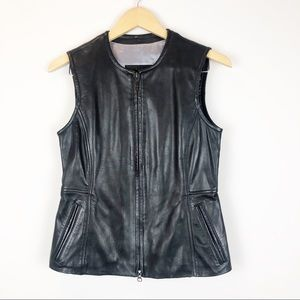 Guess Black Genuine Leather Vest with Zipper